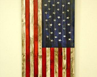 Handmade Rustic Wood USA Flag - Muilty Stars