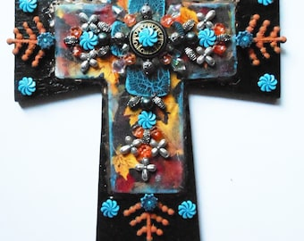CROSS crosses black and turquoise color religious art one of a kind mixed media hand made wall decor cross