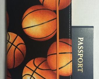 Laminated Passport Wallet - Basketballs- Plastic ID slot, 2 card pockets and Elastic Closure