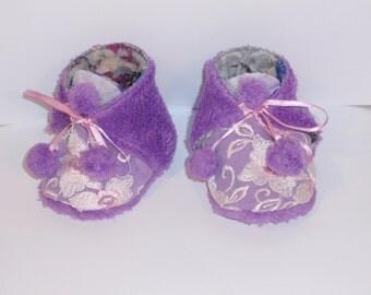 Baby Infant Bootie Shoe Girl Crib Slipper Lavender
