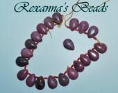Rhodonite Gemstone Teardrop Beads- Set of 10
