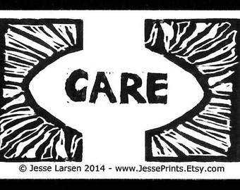 Magnet. Words. Care & design original block prints by Jesse Larsen. Ivory-colored business card size. Soulful, smart, sustainable.