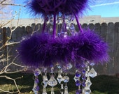 Deep Purple Crystal Mobile Princess Marabou Chandelier Nursery Sun Catcher