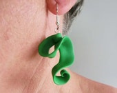 Green twirly Fimo hanging earrings/ exciting shape/ bright green dangle earrings with ear hooks/ thin light and flexible