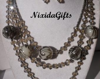 Three Strand Smoky Gray Crystal Necklace Set