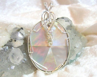 50x35 Mother of Pearl Pendant, White Shell Pendant 935 Sterling Silver Wire Wrapped in Argentium Anti Tarnish wire