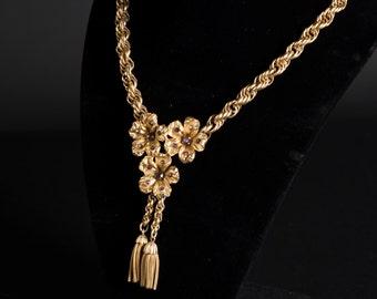 Vintage Gold-Tone Flower Necklace