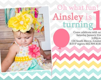 adorable chevron 1st birthday invitation