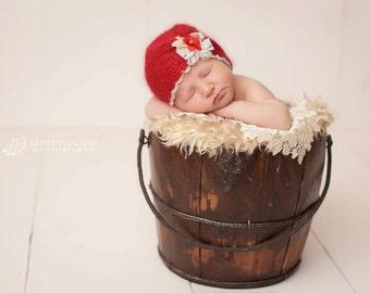 Christmas / Valentine's Knit Silk Mohair Turban Hat- photo props newborn - Red- newborn