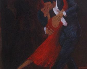 """Tango Latin Dance Art - """"Lady in Red #16"""""""