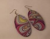 Fabric earrings / Round dangle earrings / Handmade jewelry / Wood covered oval earrings