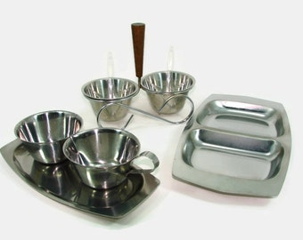 MCM Stainless Steel and Teak Servers, Rostfritt Condiment Server and Spoons, Kingsford Divided Serving Tray, Sugar & Creamer on Tray