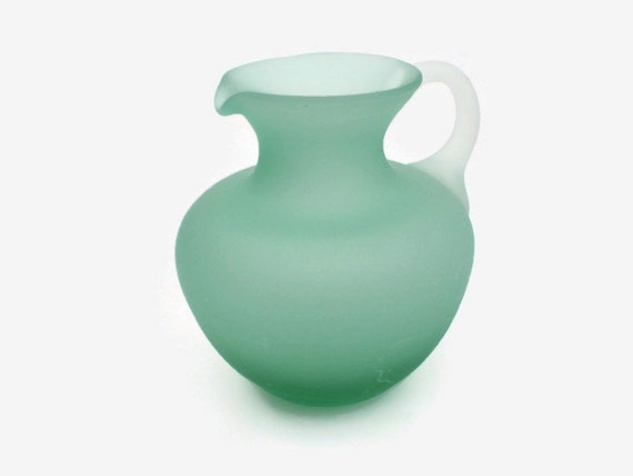 Green Satin Glass Creamer, Hand Blown Frosted Small Pitcher, Green Vase