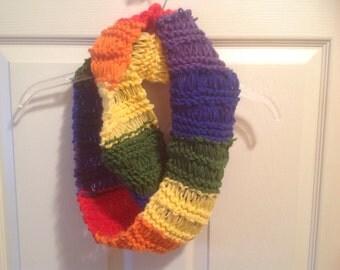 Rainbow hand knit infinity scarf autism lgbt