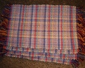 Rag Rug Placemats Handwoven Warm Pastel Blue Pink White and Yellow