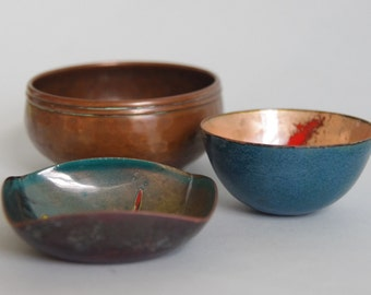 SALE Enamel and copper mini bowls (3) instant collection copper enamel pin trinket dishes one signed Tom -European Dutch Italian Portugese