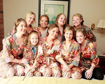 Set of 9, Floral Kimono Crossover patterned Robe, Bridesmaids Robes, Bridesmaids gift, Getting ready robes, Bridal shower favors, Photo prop