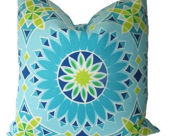 Decorative Designer Trina Turk for Schumacher, Outdoor Soleil Print, Turquoise, 18x18, 20x20, 22x22, Throw Pillow