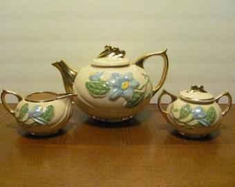 Hull Blue Magnolia Pink Teapot Tea Set Creamer Sugar Bowl
