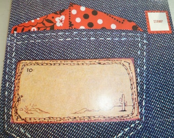 Retro Stationery, Postalettes, Note Cards, Denim Cards, Jeans Stationery, Invitations, Set of 12