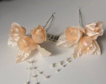 Artificial Peach Flowers Floret Satin Roses Sprays Rosebuds Small Flowers Peach Rose