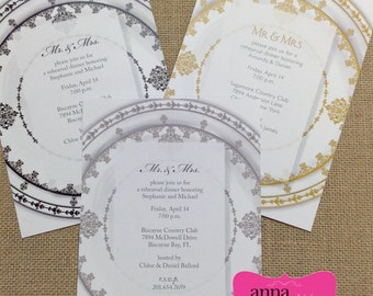 REHEARSAL DINNER,  Dinner Party, Anniversary DAMASK Invitations