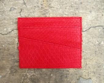 BASIC - Neon Red Card Holder Python Snakeskin Leather