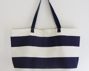 Large Tote Bag, Carryall, Blue & White Nautical Stripe, Lightweight with Pocket, Handles, Great Gift
