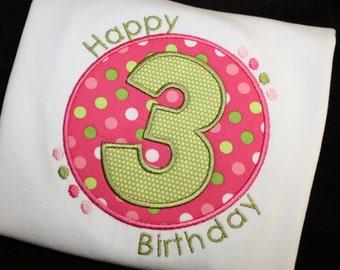 Happy Birthday Applique Toddler Shirt in White