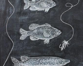 """Freshwater Fish with Lure 8x10"""" Digital Download Chalkboard Print - Woodland Nursery Print- Nature Inspired Art"""