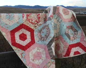 Handmade Papillon Hexigon Garden Lap Quilt, Baby Quilt