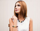 Baltic Amber Red Coral and Turquise Bib Necklace Genuine Amber Raw Stone Royal Natural Jewelry