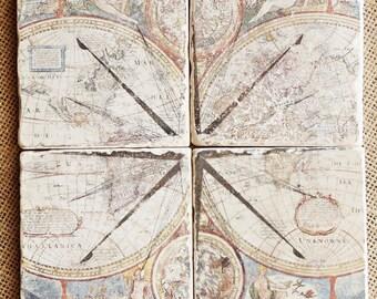 Tile Mural- Marble Mural, Marble Tile Mural, Backsplash Tile, Stone Mural, Stone Tile Mural, Backsplash Mural, Fireplace Tile, Map Mural,