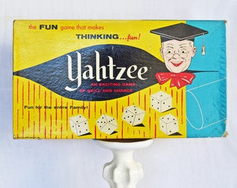 Vintage 1961 Yahtzee Game--Vintage Games--50s-60s Collectibles--Vintage Ephemera--Retro Board Game--Kitsch--Mid Century Collectible--Retro