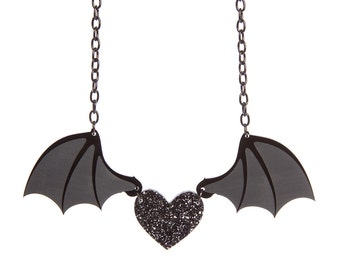 Bat Wing Heart necklace - laser cut acrylic