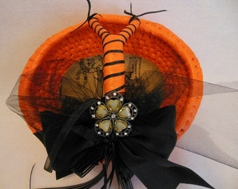Handcrafted Decorative HALLOWEEN Display Basket ~ Orange and Black ~ Riboons Bows and Jewels