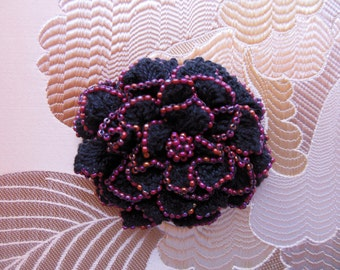 Vintage Hand Crocheted and Hand Beaded Flower Brooch ~ CROCHETED FLOWER ~ Crochet Flower Rose~ Beaded Flower ~ Crocheted Flower