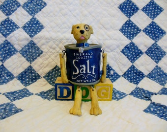DOG ~ Dog Figurine ~ PUPPY  ~  Kitchen Chic Decor ~ Salt ~ Animal Art ~ Best Friend ~ Pup ~  I Love Dogs ~ Dog Art Sculpture