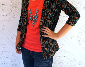 Black, Orange and Turqouise  Aztec Navajo Ethnic Southwest 3/4 Sleeve Cardigan for Teen's and Women from GreenStyle