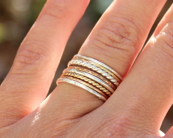 Set of 8 Tri Color Stacking Rings - Sterling Silver, 14K Rose Gold Filled, and 14K Gold Filled - Mixed Metals