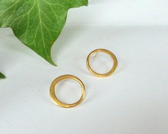 Gold circle stud hoop earrings