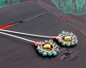 Beaded Floral Posy Handmade Headpin - Frosted Rainbow Moss Peridot - Boho Floral Finding - Glass Seed Bead - Silver Copper Wire - Pkg. 2