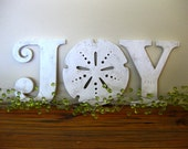 JOY, Christmas, beach, cottage, coastal, word sign, wood sign, sand dollar,  distressed,  shabby chic