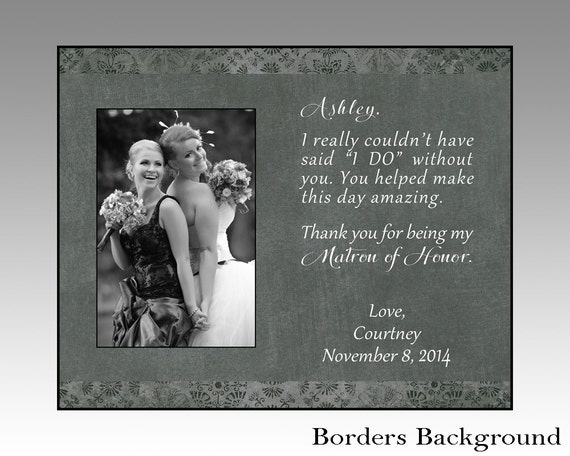 Matron Of Honor Picture Frame Matron Of Honor Gift Wedding