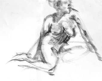 """Drawing woman, fine art digital print from original charcoal drawing by artist, Vernon Grant, square print 15"""" x 15"""", Gesture Pose"""