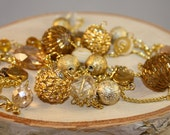 Long Beaded Necklace- Gold Mixed Beads- One of a Kind- gold chain
