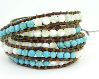 5 Wrap  Natural White Shell turquoise  Simulated Leather Wrap Bracelet