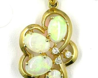 Vintage 18K Gold Opal Pendant with Diamonds