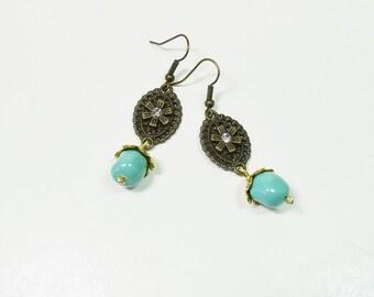 Vintage Style Earrings, Swarovski Pearl Earrings, Antiqued Earrings. Turquoise  Earrings, Dangle Earrings