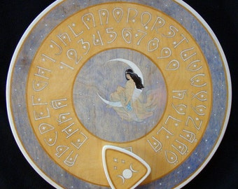 "Ouija board - Spirit board - Talking board ""Moon Goddess"" / Any Alphabet & Free Shipping"